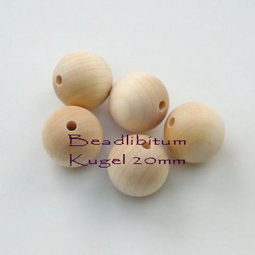 Rohholzperle rund 20 mm, Bohrung: 3,5 mm, 5 St.