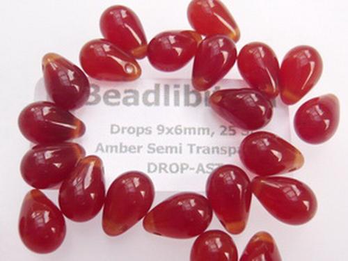Drops 9x6mm Amber Semi Transparent, 25 St.