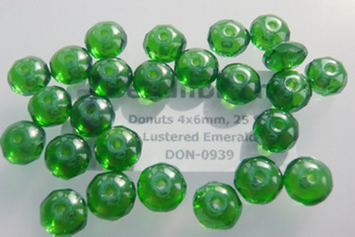 Donuts 4x6mm Lustered Emerald, 25 St.