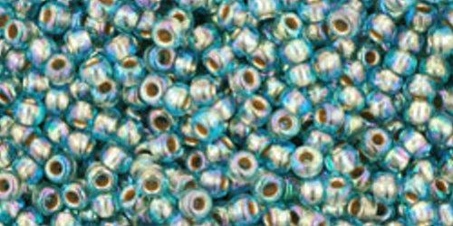 TOHO Rocailles 11/0 (#995) Gold-Lined Rainbow Aqua