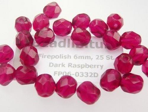 Firepolish 6mm Dark Raspberry, 25 St.
