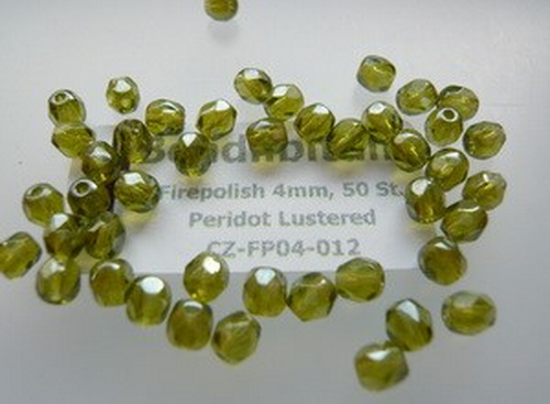Firepolish 4mm Peridot Lustered, 50 St.