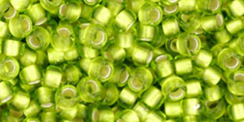 TOHO Rocailles 8/0 (#24F) Silver-Lined Frosted Lime Green