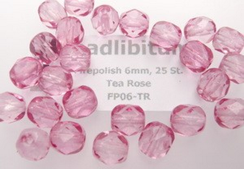 Firepolish 6mm Tea Rose, 25 St.