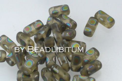 Two-Hole Prism Beads 4x8mm Khaki Peacock, 20 St.