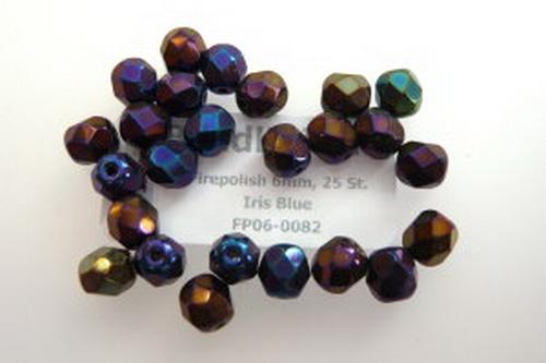 Firepolish 6mm Iris Blue, 25 St.
