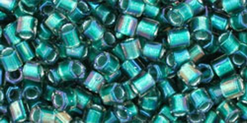 TOHO Hexcut 8/0 (#270) Inside-Color Crystal/Prairie Green Lined