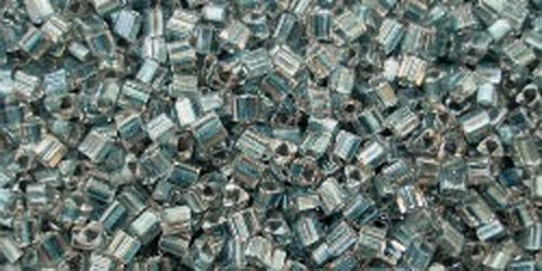 TOHO Cube 2mm (#288) Inside-Color Crystal/Metallic Blue Lined