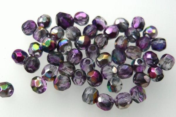 Firepolish 3mm Crystal Magic Purple, 50 St.