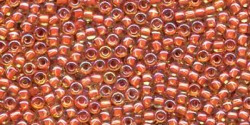 TOHO Rocailles 15/0 (#951) Inside-Color Jonquil / Brick Red Lined