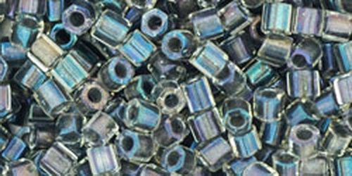TOHO Hexcut 8/0 (#266) Inside-Color Gold Luster Crystal/Opaque Gray