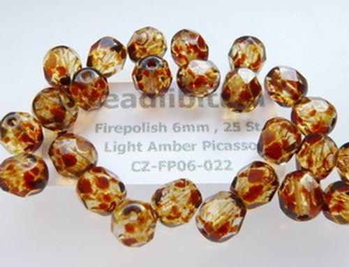 Firepolish 6mm Light Amber Picasso, 25 St.