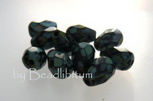Poire 7x5mm Jet Green Picasso, 10St.