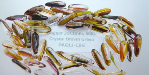 Dagger 3x11mm Crystal Brown Green, 50St.