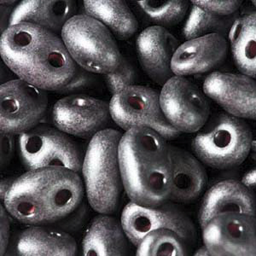 Twin Beads 2,5x5mm (#28998M) Jet Dark Purple Pearl Matte