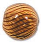 Venezianische Hohlperle Amber Brown, 13 mm rund