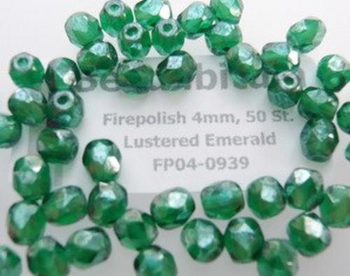 Firepolish 4mm Lustered Emerald, 50 St.