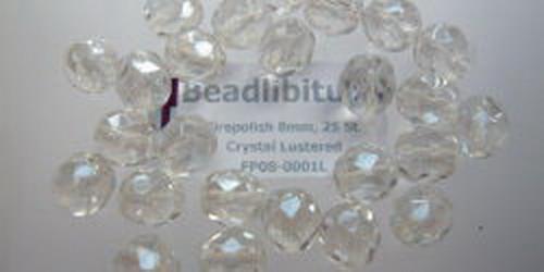 Firepolish 8mm Crystal Lustered, 25 St.