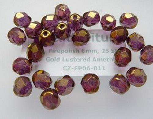 Firepolish 6mm Gold Lustered Amethyst, 25 St.