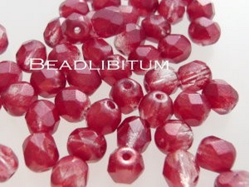 Firepolish 6mm Silver Waxed Ruby, 25 St.