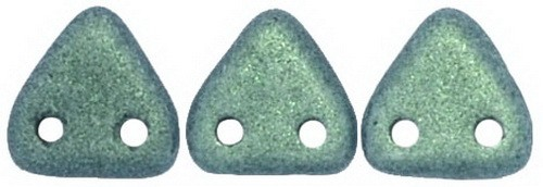 CzechMates Triangle 6mm Metallic Suede - Lt. Green