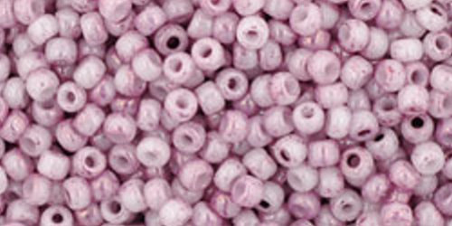 TOHO Rocailles 11/0 (#1200) Marbled Opaque White/Pink