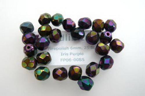Firepolish 6mm Iris Purple, 25 St.