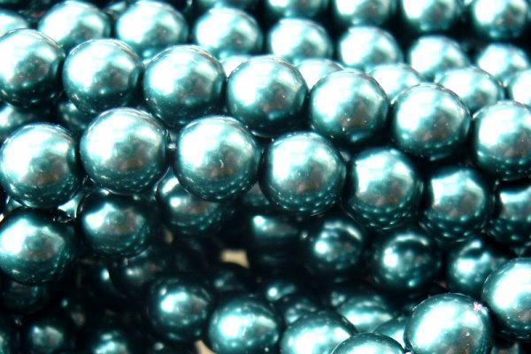 Glaswachsperlen 6mm Petrol, Strang mit ca. 80 St.