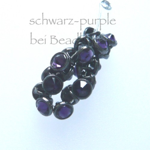 CRYSTALETTS 3mm Swarovski Purple / Schwarz Rhodiniert