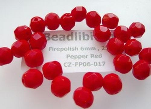 Firepolish 6mm Pepper Red, 25 St.