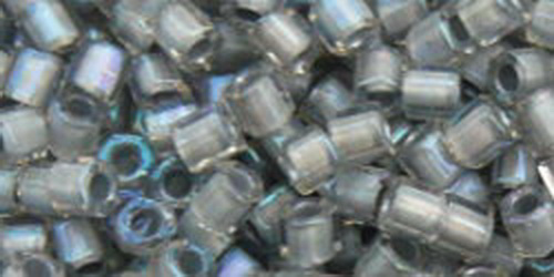 TOHO Hexcut 8/0 (#261) Inside-Color Rainbow Crystal/Gray Lined