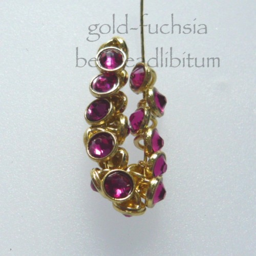 CRYSTALETTS 3mm Swarovski Fuchsia / Gold